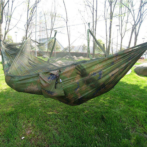 Portable Hammock Single-person Folded Into The Pouch with Mosquito Net for Travel Camping Hiking