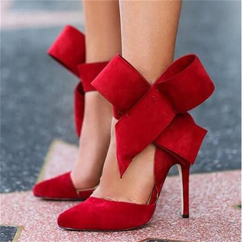 Women's High Heel Shoes Pointed Siletto Big Bow Tie Pumps Butterfly Plus Size