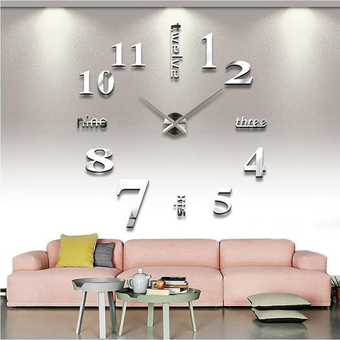 Wall Clock Quartz 3D Big Rushed Mirror Sticker Living Room Decor