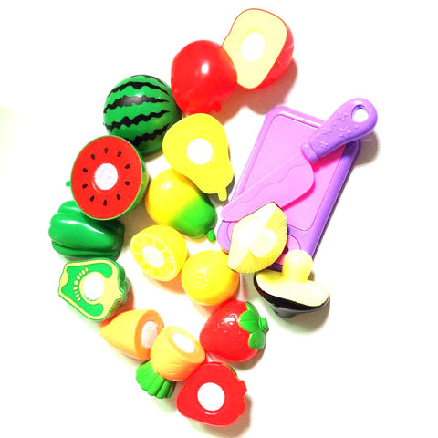 10 Pcs/Set Plastic Kitchen Food Fruit Vegetable Cutting Kids Pretend Play Educational Toy Cook Cosplay Safety Hot Sale