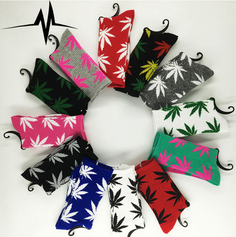 Unisex Weed Style Socks Cotton Polyester Spandex Colorful Hip Hop