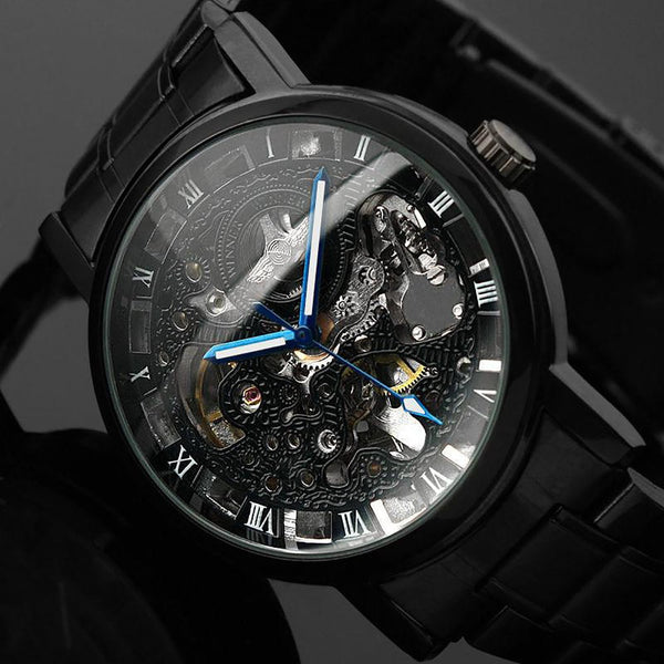 2016 New Black Men's Skeleton WristWatch Stainless Steel Antique Steampunk Casual Automatic Mechanical Watches Male