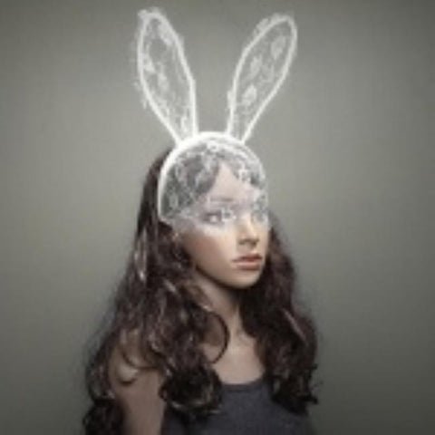 Women Girl Hair Bands Lace Rabbit Bunny Ears Veil Black Eye Mask Halloween Party Headwear Accessories