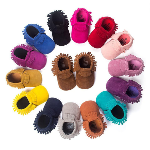 Unisex Baby's Shoes PU Suede Leather Soft Fringe Soled Non-slip