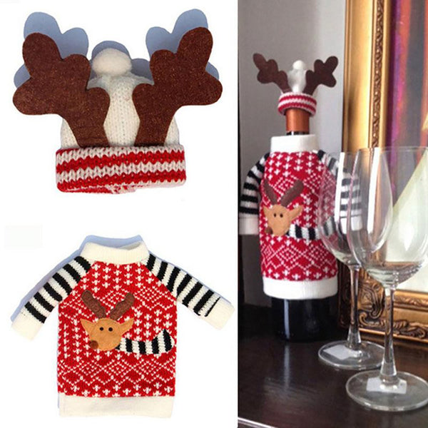Wine Bottle Cover Sweater and Hat Design Christmas Table Decoration