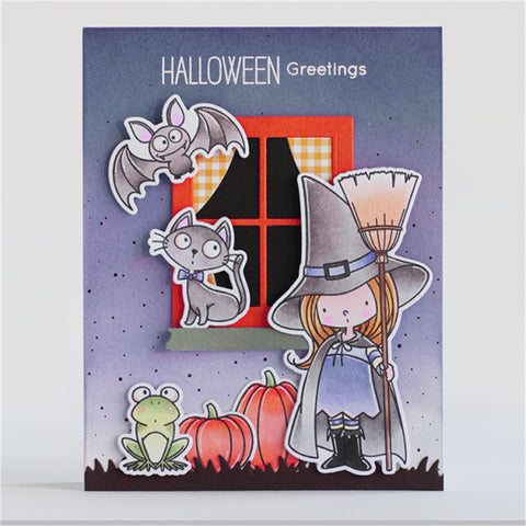 InLoveArts Halloween Witch Cat Stamp 19Pcs/lot Rubber Clear for Scrapbooking DIY Album Card Decor Craft