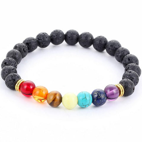 Unisex Adult's Bracelet Multi-color Black Lava 7 Chakra Healing Balance Beads Reiki Prayer Yoga