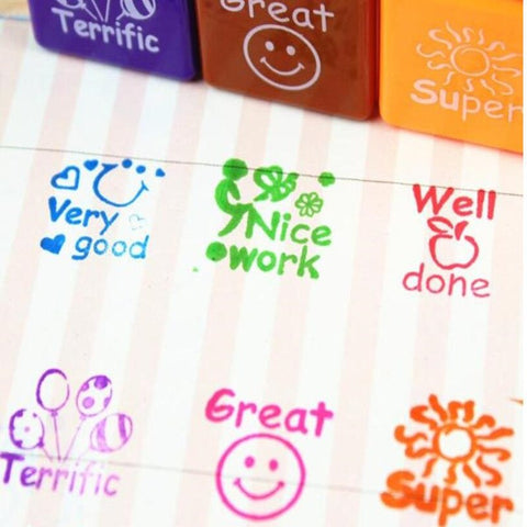6pcs/set Teachers Stamper Praise Reward Stamps Sticker DIY English Words Ink Pad Stationery Gift Christmas Halloween