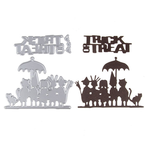 Trick Threat Kids Metal Cutting Dies Stencils DIY Scrapbook Embossing Album Paper Card Halloween Decorative