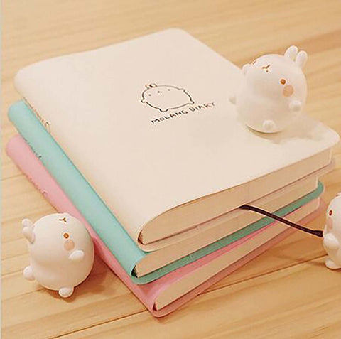 2017-2018 Cute Kawaii Notebook Cartoon Molang Rabbit JournalDiary Planner Notepad for Kids Gift Korean Stationery Three Covers