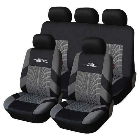 Car Seat Cover Set Embroidery Universal Fit Most Cars with Tire Track Detail Styiling Protector