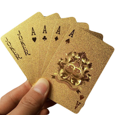 Golden Playing Cards Deck Gold Foil Poker Set Magic Card 24K Gold Plastic Durable Waterproof Magic81150