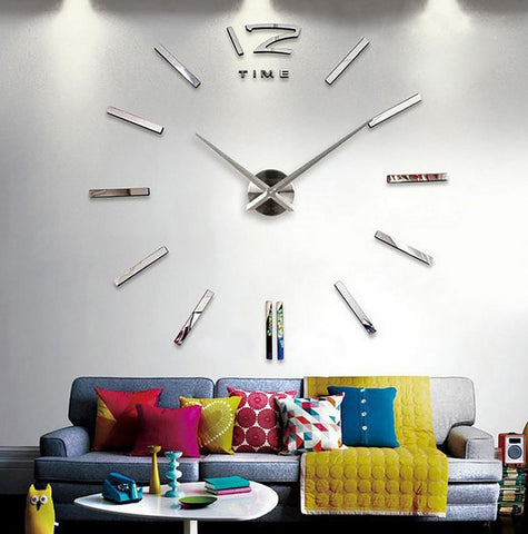 3D Real Big Quartz Wall Clock Sticker DIY Home Wall Decor