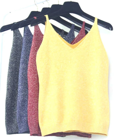 Women's Tank Elastic Slim Sleeveless Spaghetti Strap Knitted Casual