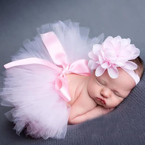Baby Girl's Tutu and Headband Set Vintage Princess Photography Birthday
