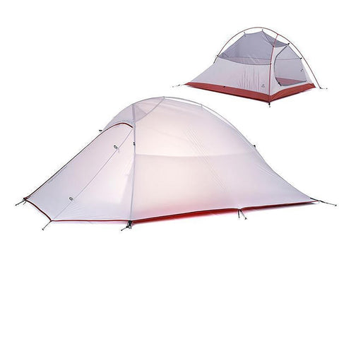2 Persons Tent 20D Silicone Fabric Ultralight Double Layers Aluminium Rod Four Seasons with Mat 1.2kg for Camping