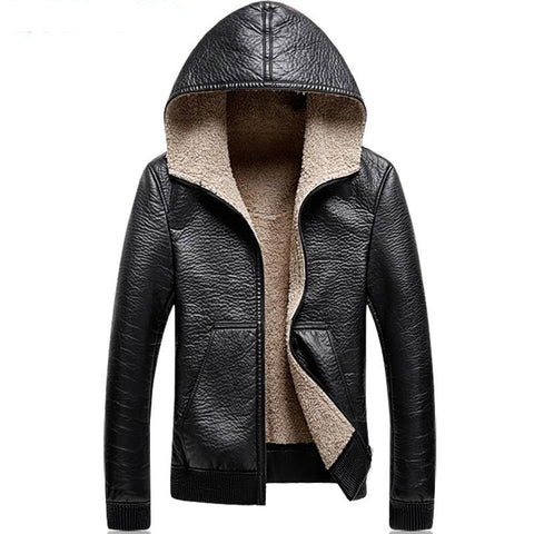 Jacket men 5xl leather hoodies overcoat plush liner velvet thick hooded suede casual winter