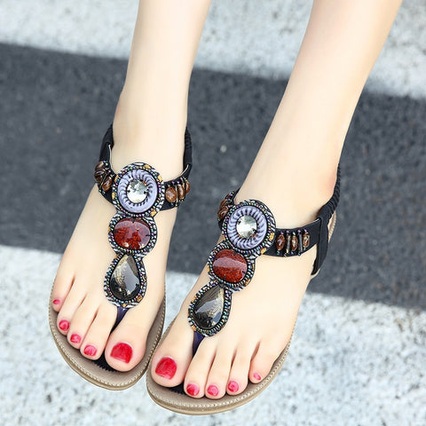 Women's Rhinestone Sandals Flat Bottomed Summer Shoes Bohemia