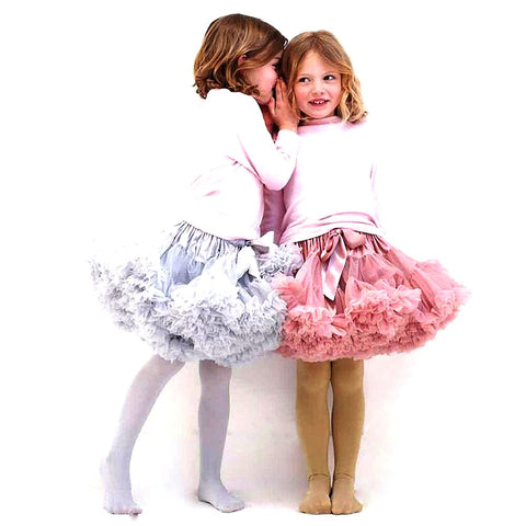 Buenos Ninos Girls Fluffy 2-18 Years Chiffon Pettiskirt Solid Colors Tutu Skirts Girl Dance Skirt Christmas Tulle Petticoat