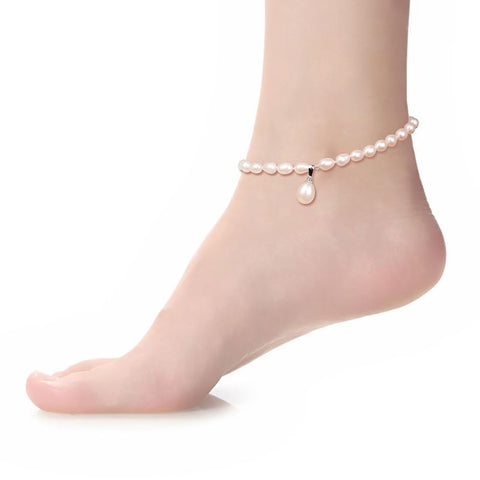Women's Pearl Anklets 100% Natural Freshwater Fine Jewerly