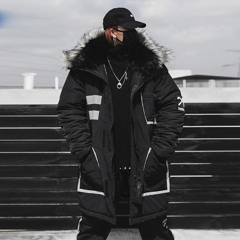 Parkas men winter thick jacket hooded fur collar streetwear hip hop long warm windbreaker