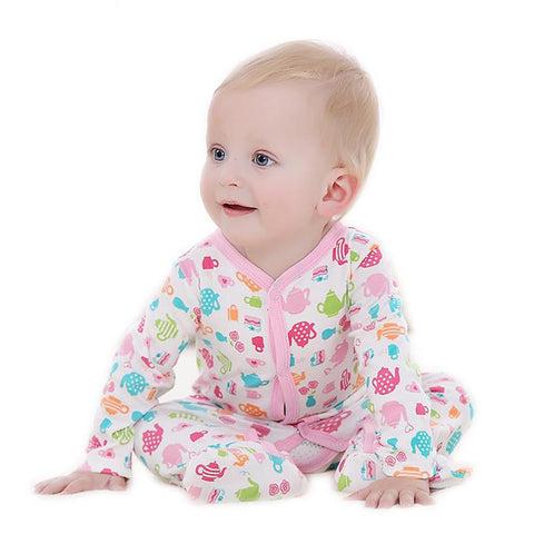 Unisex Baby's Cotton Footies Mother Nest Design Overalls Long Sleeve Rompers