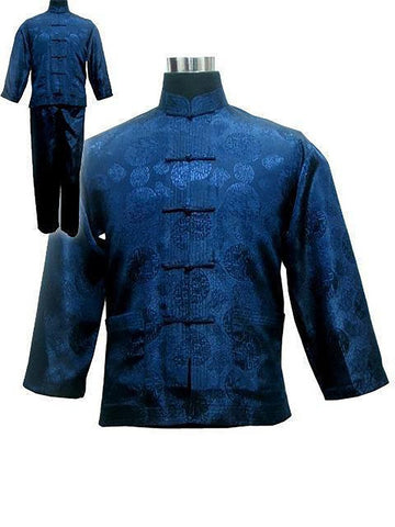 Free Shipping ! Navy Blue Men's Polyester Satin Pajama Sets Jacket Trousers Sleepwear Nightwear SIZE S M L XL XXL XXXL M3020