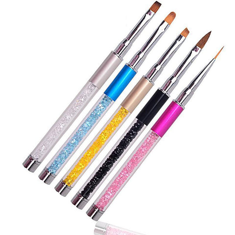 Nail Brush Pen Liner with Cap Rhinestone Diamond Metal Acrylic Handle Carving Powder Gel Liquid Salon
