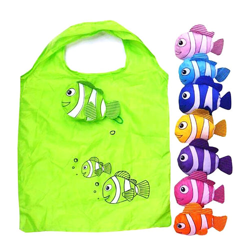 Foldable Reusable Shopping Bags 38x58cm Tropical Fish Design Eco-friendly Bag