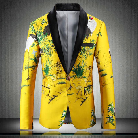 Blazer men suit jacket luxury print slim fit floral stage clothing pattern stylish party wedding 5xl