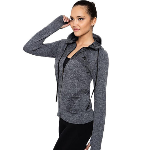 Women's Sport Jacket Quick Dry Long Sleeves Sweat Zipper for Running Gym Fitness