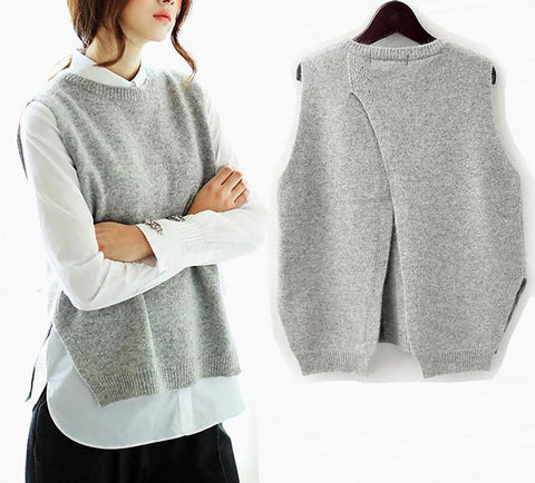 Women's Vest Back Split Cashmere Knitted O-neck Thin Spring Autumn Winter Sleeveless