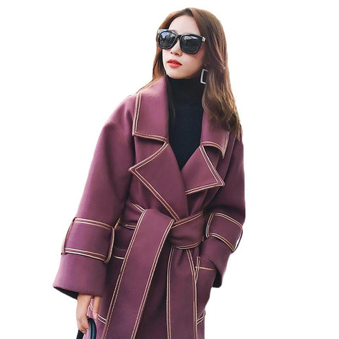 Coat women long wool autumn winter fashion plus size woolen elegant jacket warm slim outerwear 3xl