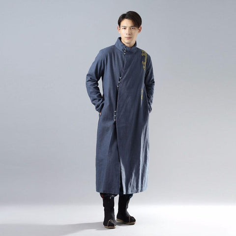 Jacket men autumn winter embroidery long velveteen traditional coat