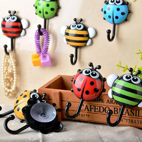 Wall Mounted Suction Hooks Insect Design Plastic Organizer Household Kitchen