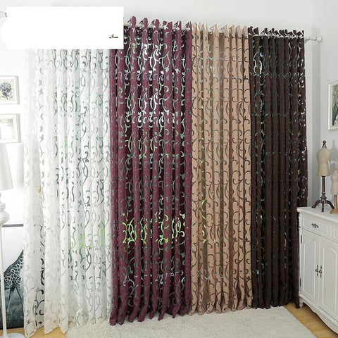 Semi-blackout Curtains Kitchen Window Living Room Panel Jacquard Fabric