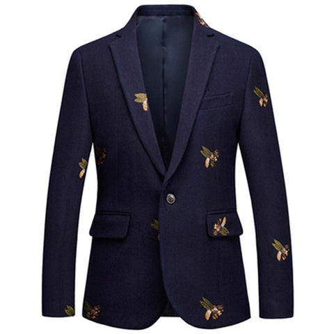 Blazer men baroque designer classic jacket single button bee embroidery wool blend plus size m-6xl