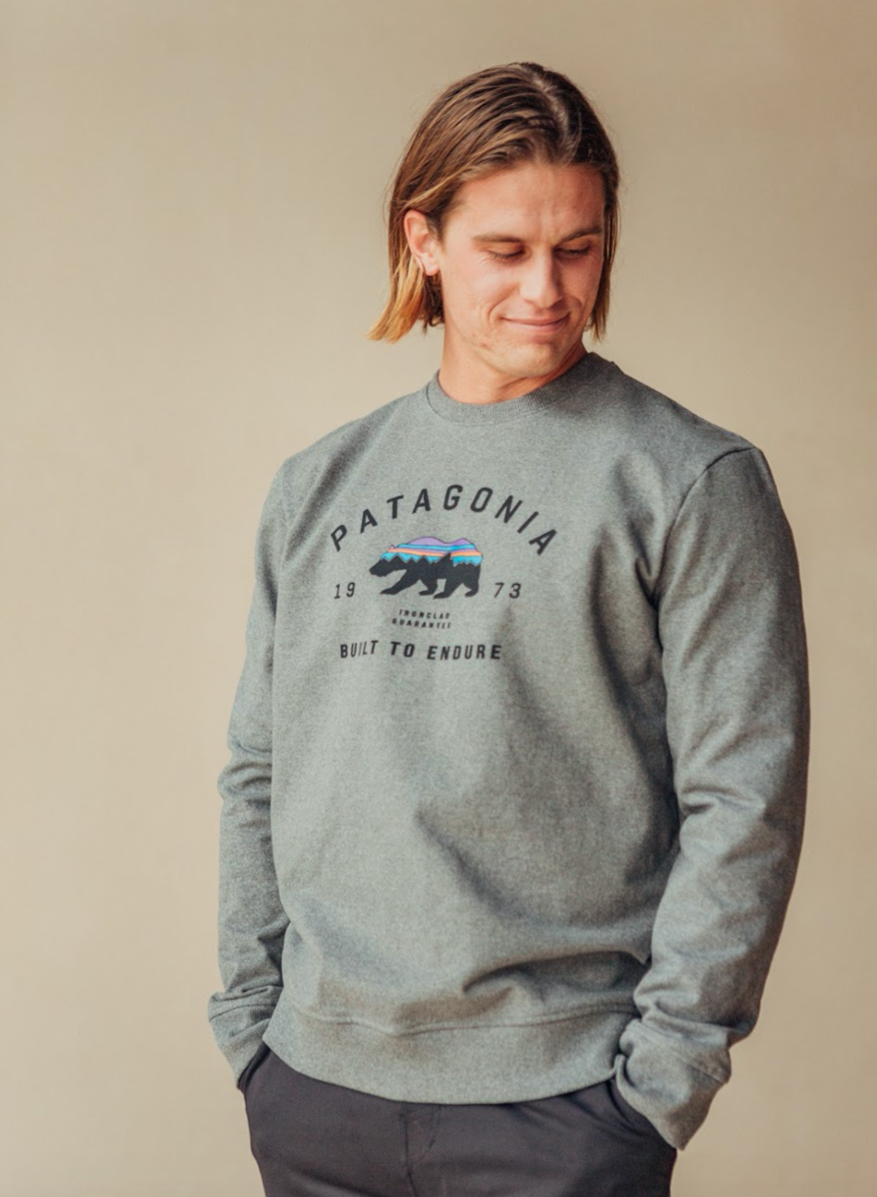 Arched Fitz Roy Bear Uprisal Crew Sweatshirt- Grey