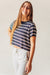 Crop Bamboo Printed Top - Navy Stripe