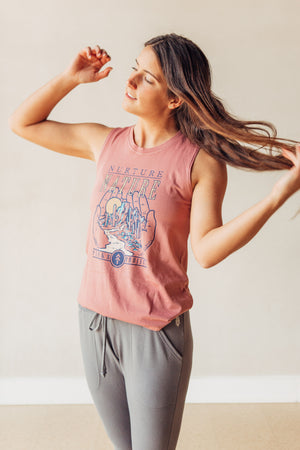 Nurture Nature Hands Sleeveless Tank - Mauve