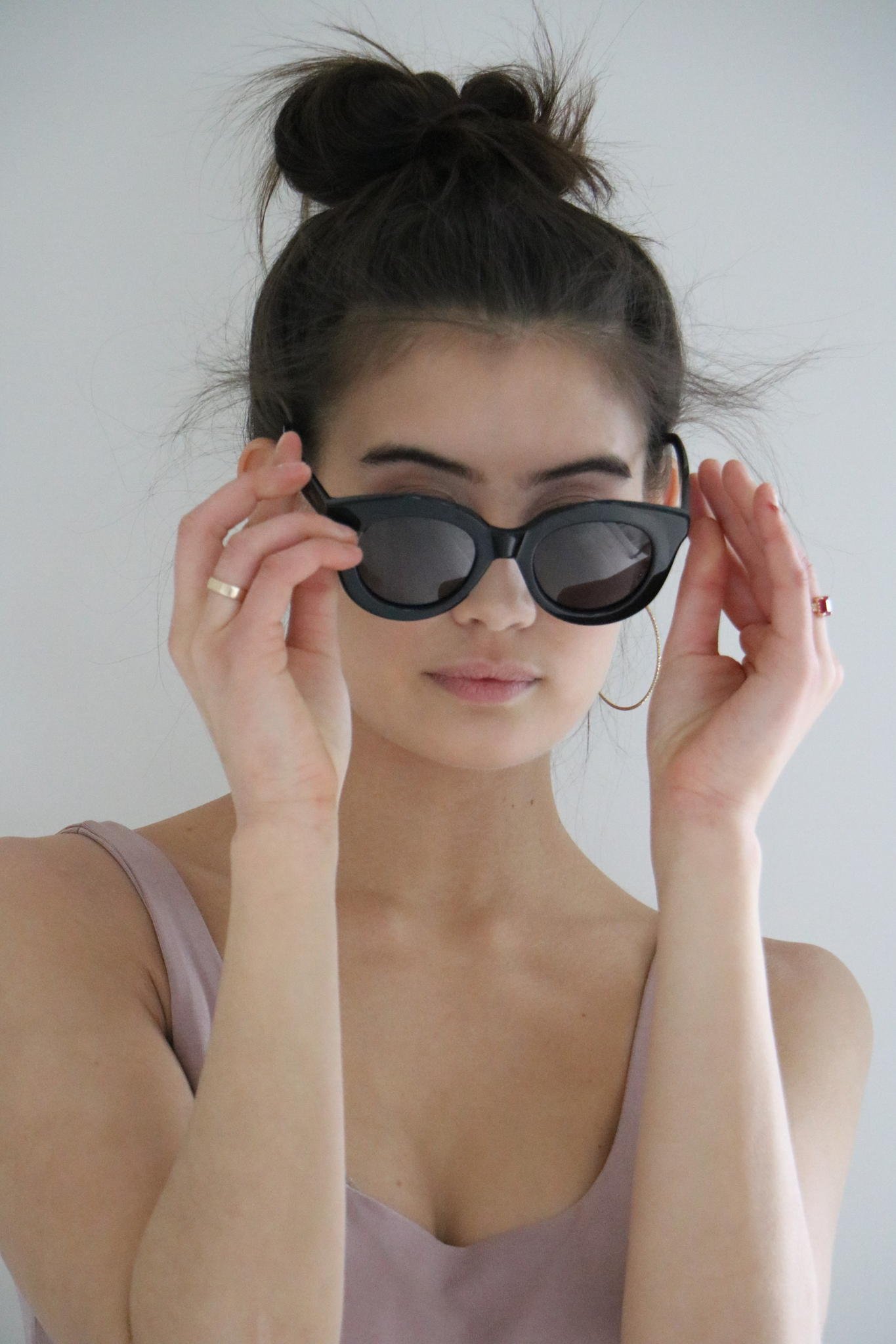 Havana Round Eye Acetate Sunglasses in Jet Black