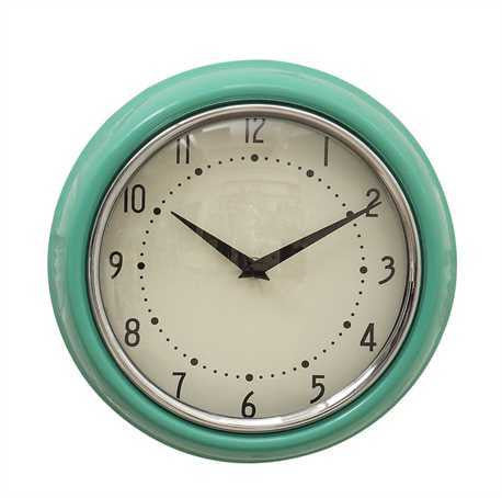 Aqua Round Metal Wall Clock