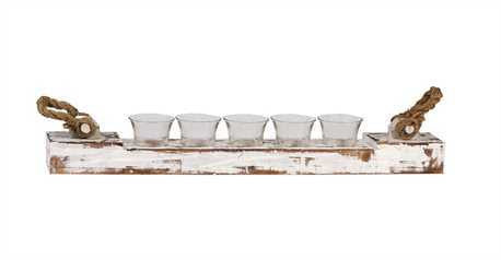 Wood Votive Holder w/ 5 Glass Cups