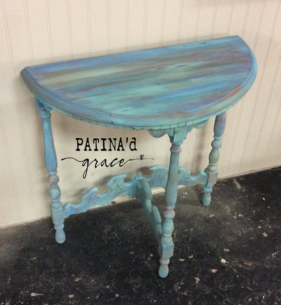 Antique Half Moon Accent Table {Handpainted by Danielle Fitzgerald}