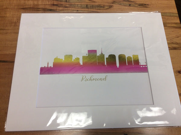 11 x 14 matted print of Richmond (pink & gold)
