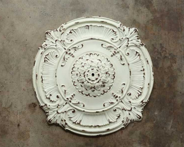French Country Shabby Metal Ceiling Medallion 39""