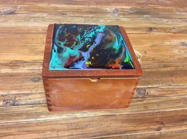 "Cigar Box Art ""Teal Vitrail"""