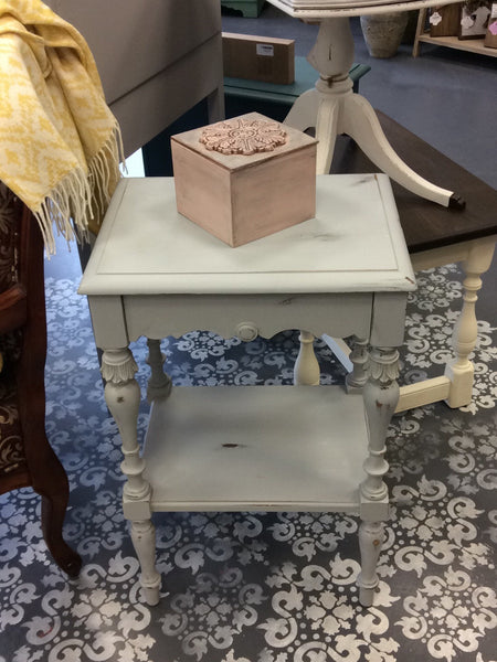 Gray Distressed Nightstand w/Drawer {by Mandy Fitzgerald}