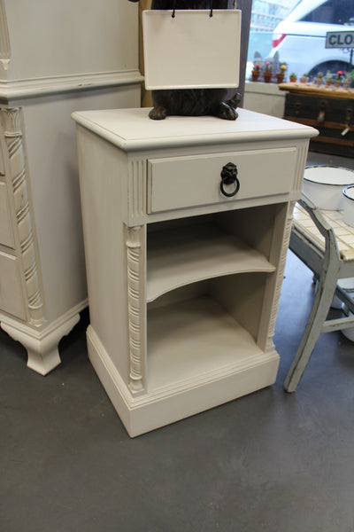 Light Grey reLOVEd Vintage Nightstand w/ Drawer and Shelf