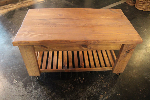 Handcrafted Farmhouse Coffee Table on Casters